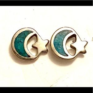 Turquoise Silver Crescent 🌙 Moon Star Earrings